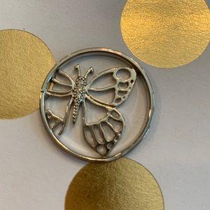 Origami Owl butterfly window plate for lrg locket